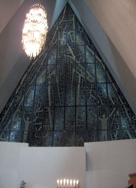 Stained Glass Window at Tromso Cathedral, as seen during midnight Concert, Norway