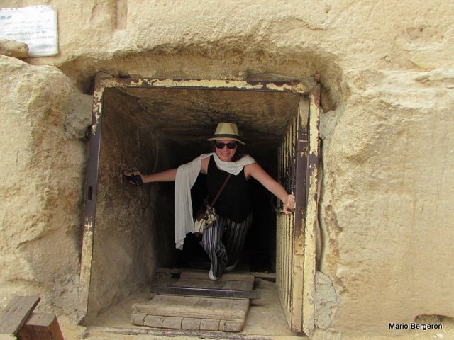 Julie Bergeron emerges from small pyramid