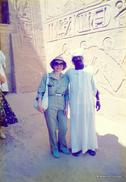 Maxine George with her Egyptian Guide, Abu Simbel Egypt