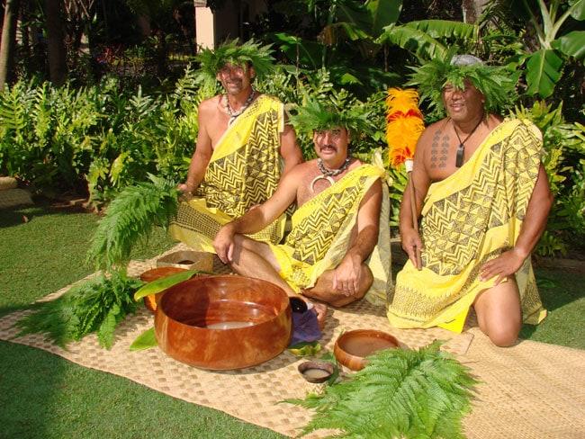 Hokulani Holt-Padilla, Javier Cano and Clifford Nae'ole opening the Celebration of the Arts, Ritz Carlton, Kapalua, Maui, Hawaii