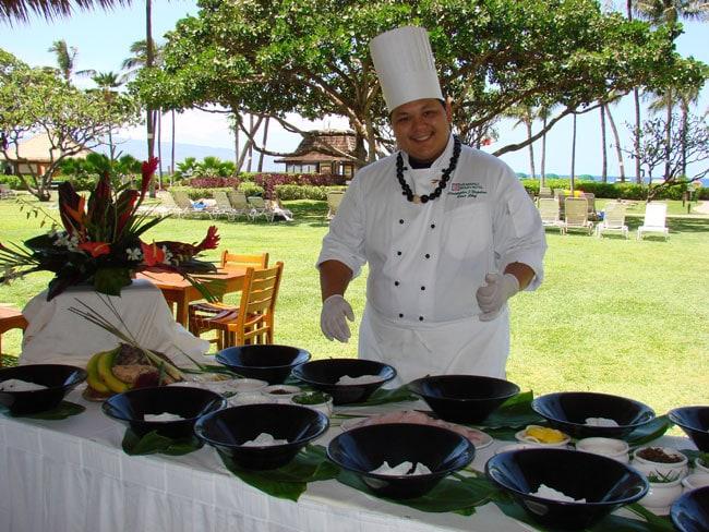 Sous Chef Chris Napoleon at the Ka'anapali Beach Resort, Maui