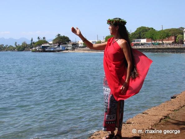 Hawaiian Chanter, Wainani Kealoha, in Lahina, Maui.