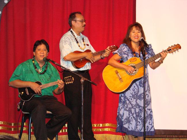 Rance Villarimo, Roger Kawakapu Brigh and Dee Coyle at the Kaanapali Beach Resort, Maui.