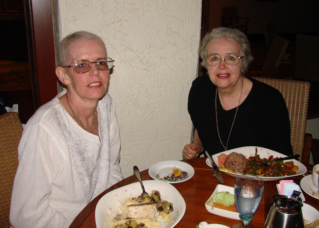 Cathy McDonald and Maxine George have dinner at the Wailea Beach Resort