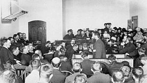 Louis Rîel at his trial