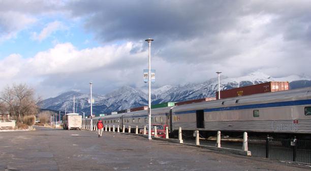 Via Rail Passenger train in Jasper BC