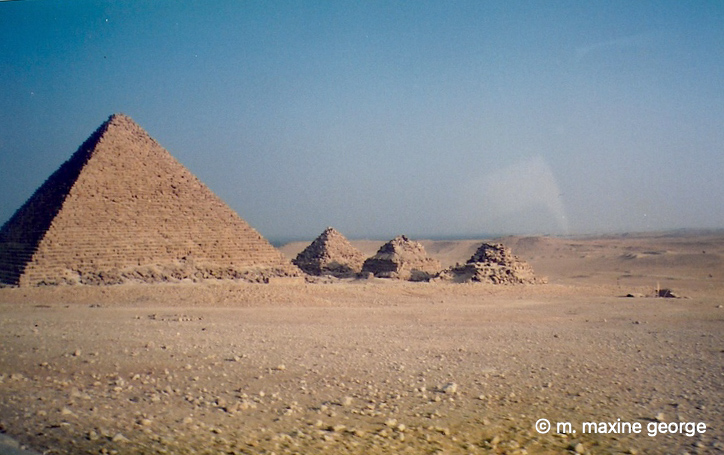 Mycernius, seen with its three small neighbours, was built by the Pharaoh Menkaure