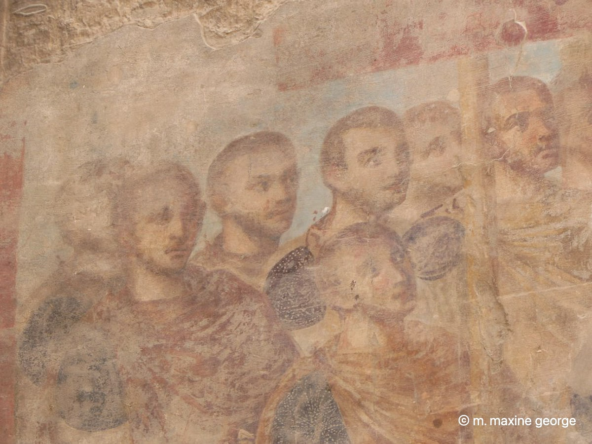 Christian faces of wall of Luxor Temple