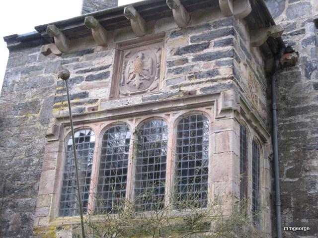 Ancient leaded windows and crest at Gwydir Castle, Wales. Photo by M. Maxine George Gwydir Castle, Wales