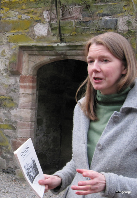 Judy Welford nee Corbett, carefully explains some of the history of Gwydir Castle. Photo by M. Maxine George