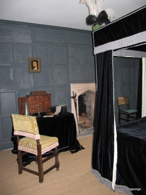 Haunted bedroom at Gwydir Castle, Wales. Photo by M. Maxine George