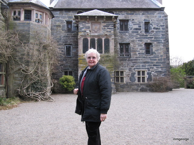 Maxine George in courtyard in front of the Solar Tower, Gwydir Castle. Photo courtesy of M. M. George