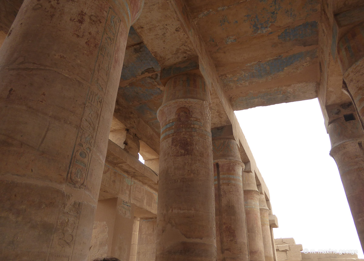 The still colourful banqueting hall of Tuthmose III
