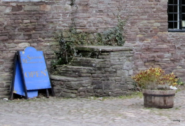 The mounting steps in the courtyard at Skirrid Mountain Inn, where Owain Glyndwr rallied his troops. Picture by M. Maxine George