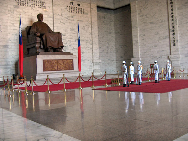 Statue of Chiang Kai Shek in Memorial Hall during changing of the guard, Taipei, Taiwan