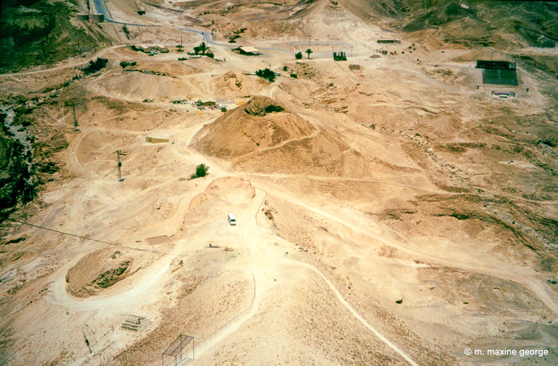 The Roman ridge on White Spur as seen from the top of Masada