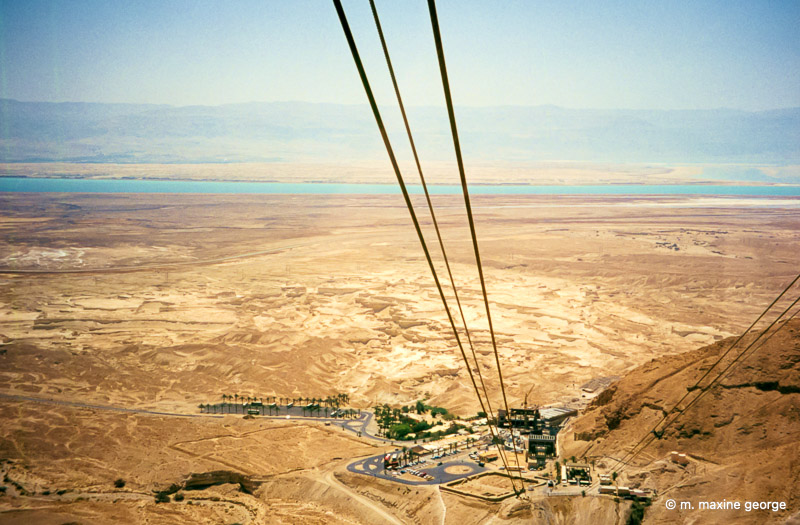 The view from the top of Masada, looking out onto the Dead Sea