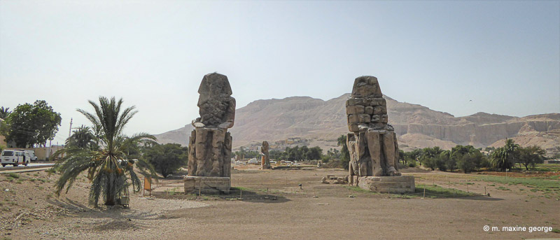 The Legendary Singing Statues of Memnon were our last stop on the West side of the Nile. Colossi colossus of memnon