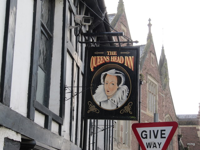 Sign at the Queen's Head Inn, Monmouth, Wales