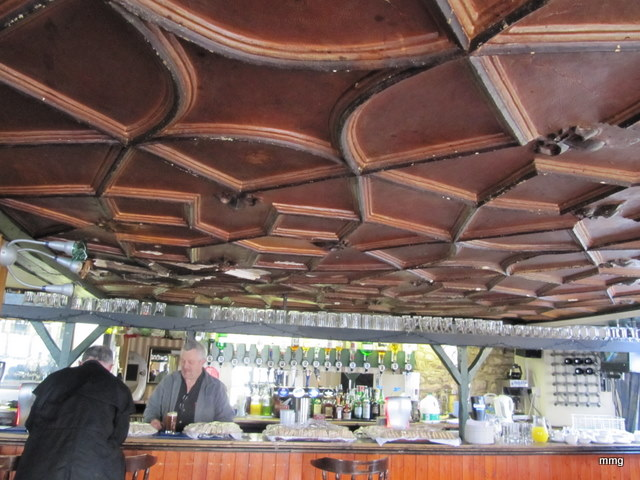 Note the intricate ceiling in the Queen's Head Inn Photo by M. Maxine George