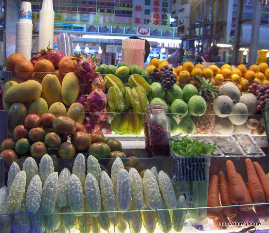 Food choices are varied in the Taipei market. Photo by M. Maxine George