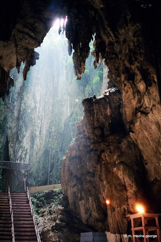 Light streams into Batu Cave in Malaysia