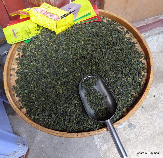 A basket of large leafed tea yongding china