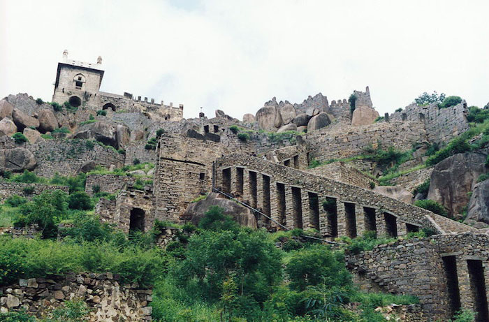 The long Ascent to the Bulahisssar at the summit of Golconda Fort India