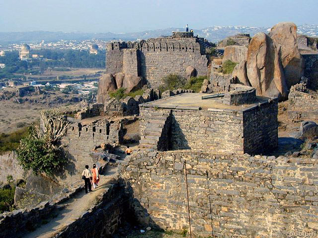 The summit of Golconda Fort, near Hyderabad India