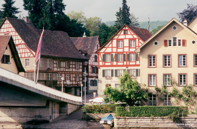 Entering the town square of Stein am Rhein beside the Rathaus