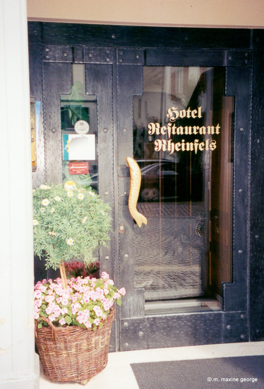 The door with the fish handle to the Hotel Restaurant Reinfels