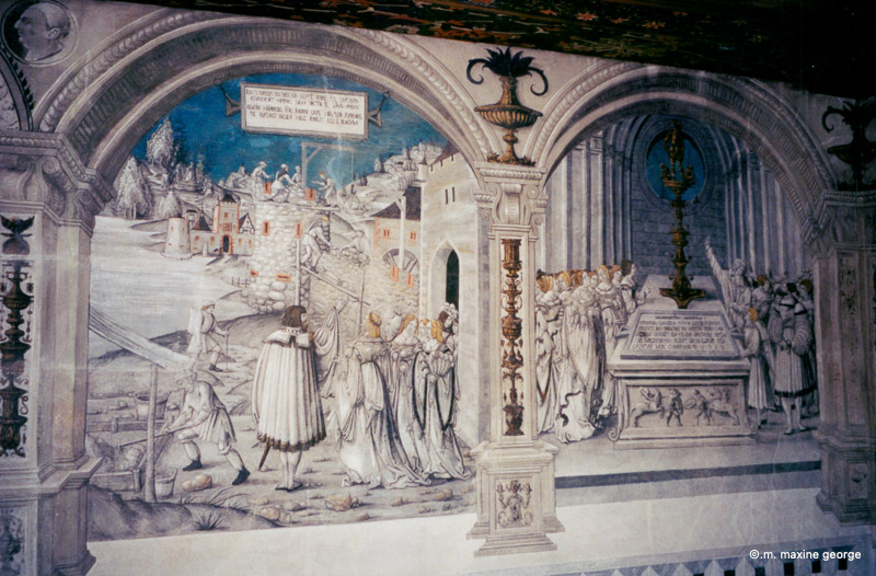 The frescos on the banquet room walls