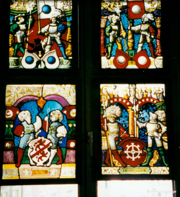 Stained glass windows in council chambers