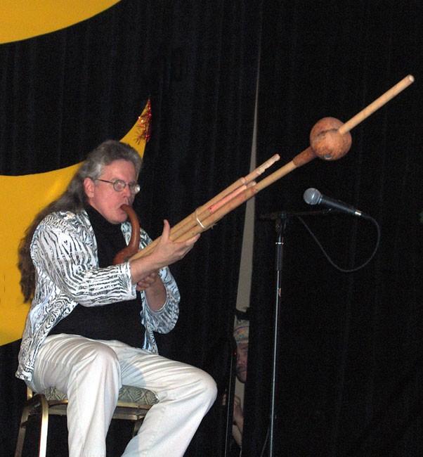 Randy Raine-Reusch performs on aboriginal instrument. Photo by M. Maxine George