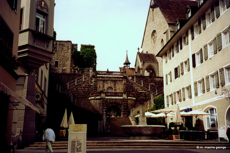 The Steps leading down to the Rapperswil Town Square Switzerland