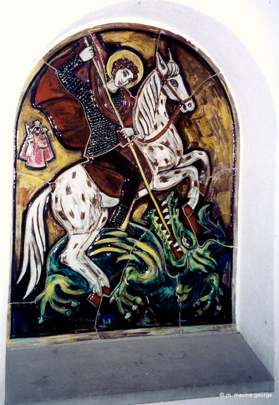 St. George slays the Dragon in a niche in the Einsiedeln Abbey