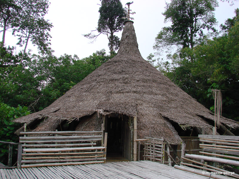 Thatched roofed hut in the Sarawak Cultural Village