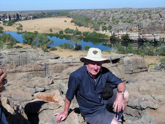 Barry MInton at Geikie Gorge, Australia. Picture courtesy of Heather and Barry Minton