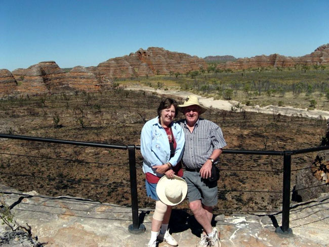 Heather and Barry Minton at Bungle Bungle Range, Australia.