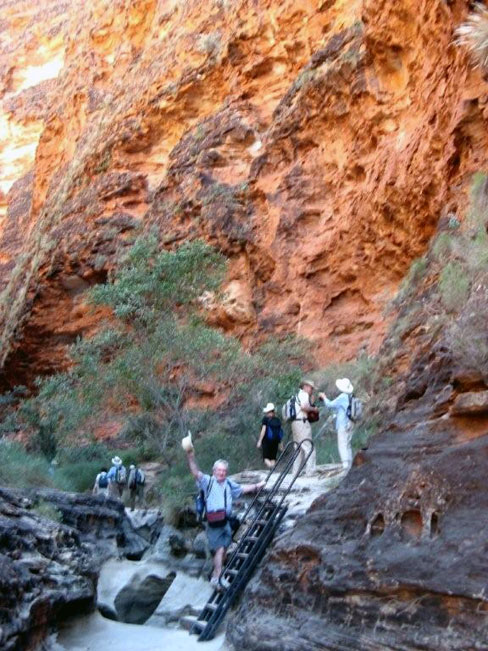 Making our way into Cathedral Gorge. Australia outback