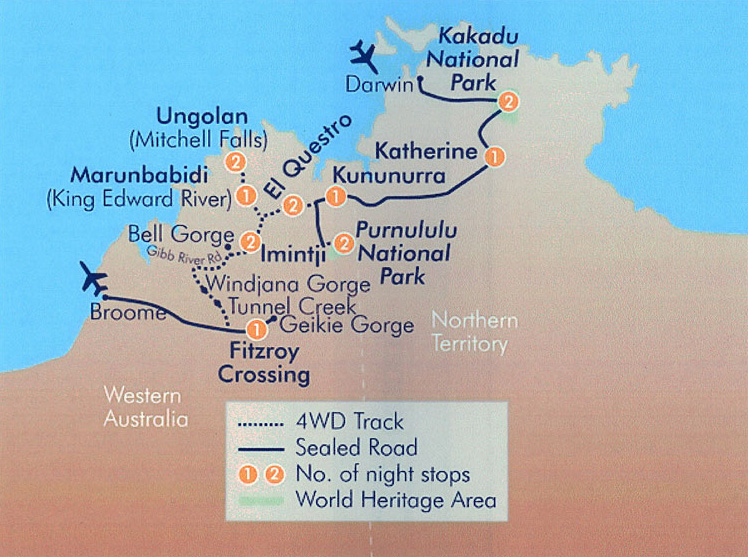 Kimberly Wilderness Adventure in AustraliaThe Top End, Australian Wilderness Map. Courtesy of Australian Pacific Touring.