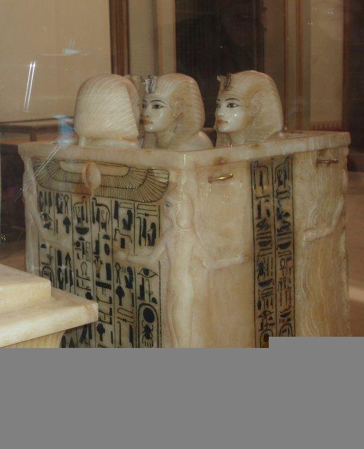 King Tut's Treasures Alabaster Canoptic jars containing viscera