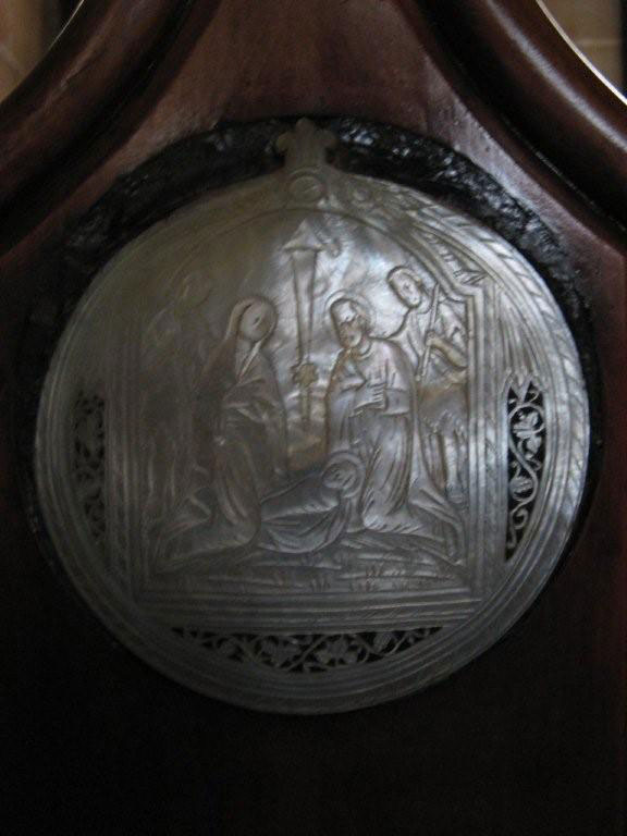 Unusual carving in the pews at St. Barnabas, Norfolk Island Photo by Barry and Heather Minton