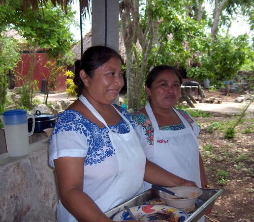 Maxine Zip Lining on Mayan Adventrure Yucutan Peninsula. Lunch by the Mayan Ladies