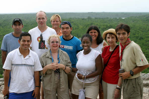 Group at top of Coba's Nohoch Muul, the tallest pyramid in the northern Yuccatan peninsula. Mayan adventure