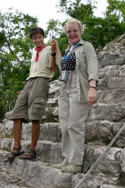 Ricardo and Maxine descend Nohoch Muul's steps Yucanat Peninsula