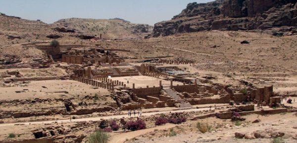 Oasr Al-Bint Temple can be seen from the Byzantine Church in Petra, Jordan. Photo by Margaret Deefholts